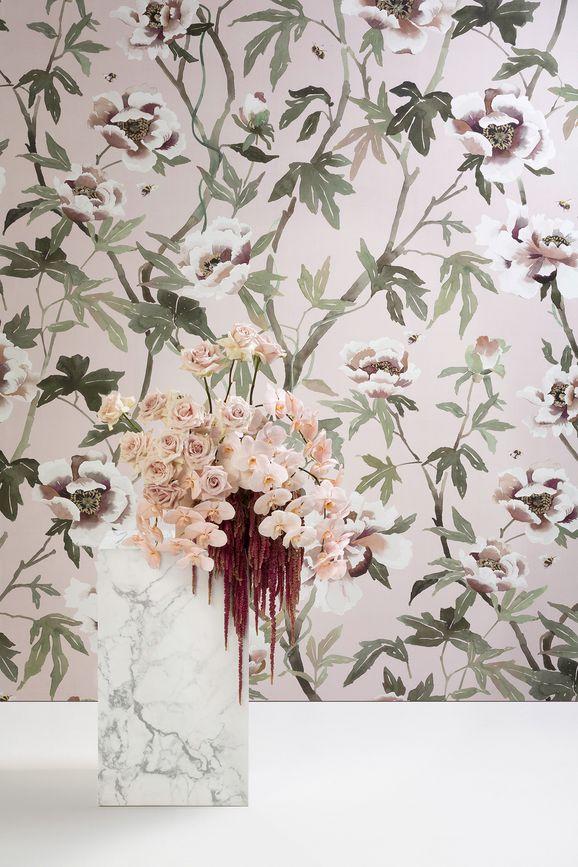 Photo of the fabric Peonia B Wallpaper Duckegg in situ by Mokum. Use for Wall Covering. Style of Animals And Birds, Decorative, Floral And Botannical, Pattern