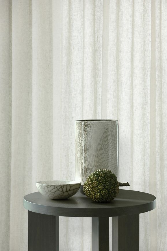Photo of the fabric Kanso Stonewash Green Tea in situ by Mokum. Use for Curtains. Style of Plain