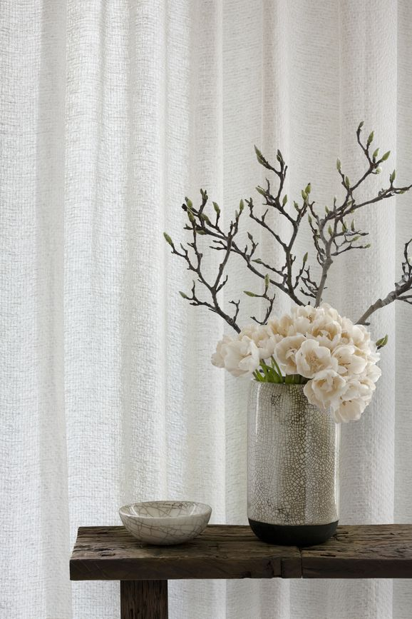 Photo of the fabric Origami Pearl in situ by Mokum. Use for Sheer Curtains. Style of Plain, Texture