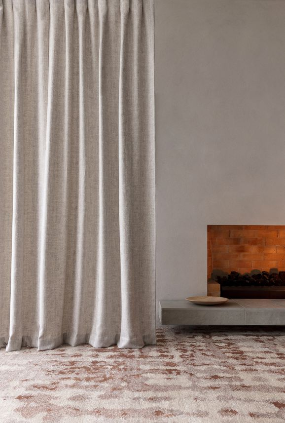 Photo of the fabric Effortless Crystal in situ by James Dunlop. Use for Curtains, Accessory. Style of Plain, Texture