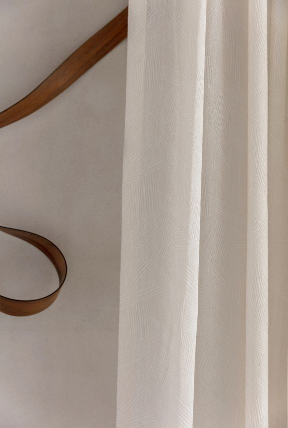 Photo of the fabric Refraction* Natural in situ by James Dunlop. Use for Curtains. Style of Geometric, Pattern