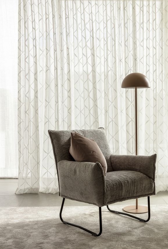 Photo of the fabric Timeless* Opal in situ by James Dunlop. Use for Curtains. Style of Embroidery, Pattern