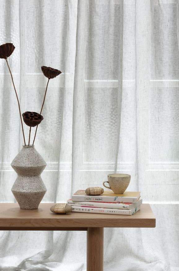 Photo of the fabric Enso Dove Grey in situ by Mokum. Use for Sheer Curtains. Style of Plain, Sheer